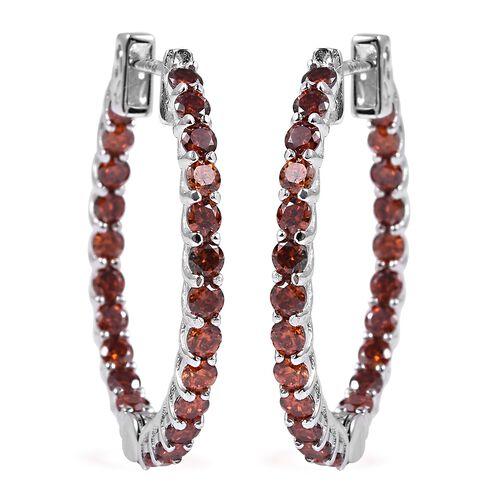 Lustro Stella Simulated Red Garnet Hoop Earrings in Rhodium Plated Silver