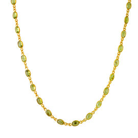 Hebei Peridot (Ovl 6x4mm) Necklace (Size 18) in 14K Gold Overlay Sterling Silver 23.000 Ct.