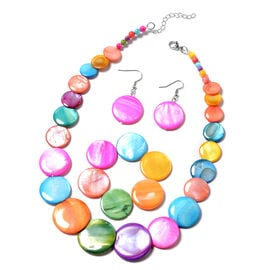 3 Piece Set Multi Colour Shell Necklace 18 with 2 inch Extender Stretchable Bracelet 7 Inch and Hook