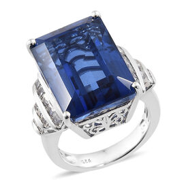 Ceylon Colour Quartz (Oct 18.35 Ct), White Topaz Ring in Platinum Overlay Sterling Silver 19.250 Ct,