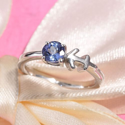 Tanzanite (0.50 Ct) Platinum Overlay Sterling Silver Ring  0.500  Ct.
