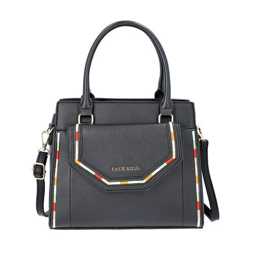 LOCK SOUL Black Colour Multiple Pocket Handbag with Zipper Closure and Detachable Shoulder Strap (Si
