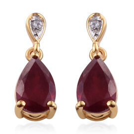 African Ruby (Pear 9x6 mm), Natural Cambodian Zircon Drop Dangle Earrings (with Push Back) in 14K Gold Overlay Sterling Silver 3.650 Ct.