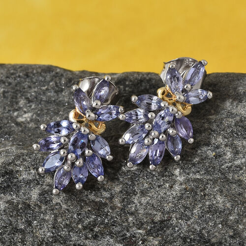 AA Tanzanite (Mrq) victorian filigree Earrings with Push Back in Platinum and Yellow Gold Overlay Sterling Silver 1.750 Ct.