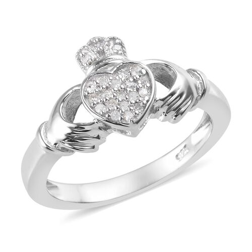 Diamond Claddagh Ring in Platinum Overlay Sterling Silver