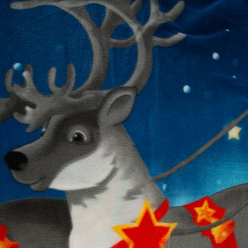 Super Soft Santa and Deer Print Pattern Fleece Throw - 200 Gsm -  Size 130x170cm.