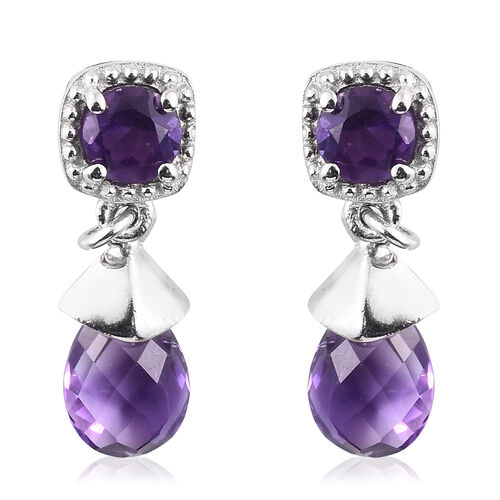 Checkerboard Cut Amethyst Drop Earrings (with Push Back) in Platinum Overlay Sterling Silver 3.250 Ct.