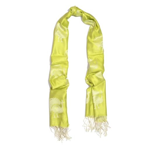 SILK MARK - 100% Superfine Silk Cream and Light Green Colour Peacock Printed Jacquard Jamawar Scarf with Fringes at the Bottom (Size 180x70 Cm) (Weight 125-140 Gms)