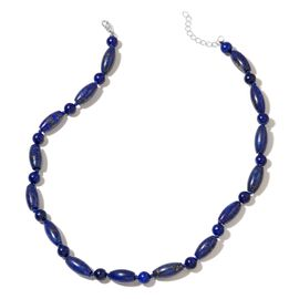 Lapis Lazuli Necklace (Size 18 with 2 inch Extender) in Silver Plated 245.000 Ct.