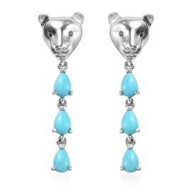 AA Arizona Sleeping Beauty Turquoise (Pear) Panther Earrings (with Push Back) in Platinum Overlay St