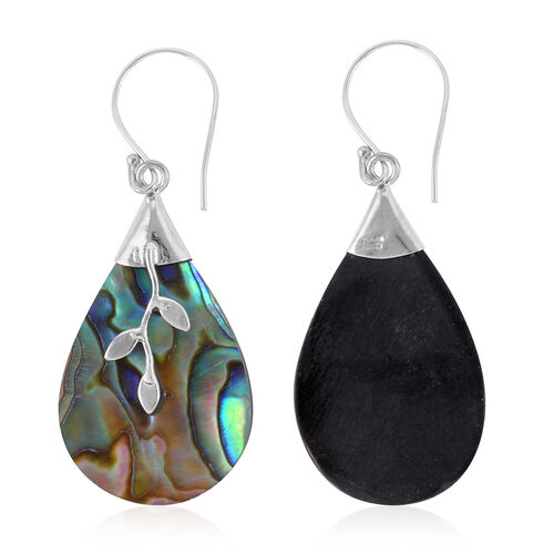 Royal Bali Collection - Abalone Shell (Pear) Hook Earrings in Sterling Silver