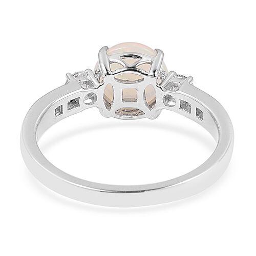 ILIANA 18K White Gold Ethiopian Welo Opal (Rnd 1.330 Ct) Diamond Ring 1.670 Ct.