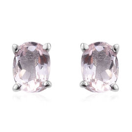 Pink Morganite (Ovl 6x4 mm) Stud Earrings (with Push Back) in Platinum Overlay Sterling Silver 0.750 Ct.
