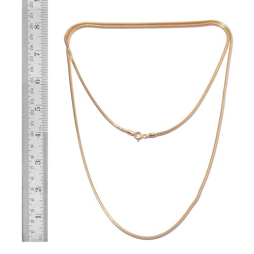 Vicenza Collection 14K Gold Overlay Sterling Silver Snake Chain (Size 30), Silver wt. 17.63 Gms.