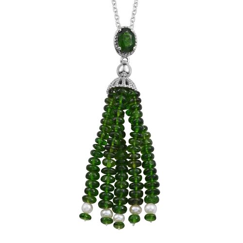 GP Russian Diopside, Freshwater Pearl and Blue Sapphire Tassel Pendant With Chain (Size 18) in Plati