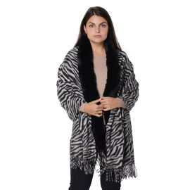 Zebra Pattern Faux Fur Winter Shawl (Size 70x180 Cm) - Black and White