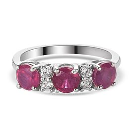 African Ruby (FF) and Natural Cambodian Zircon Ring in Platinum Overlay Sterling Silver 2.51 Ct.
