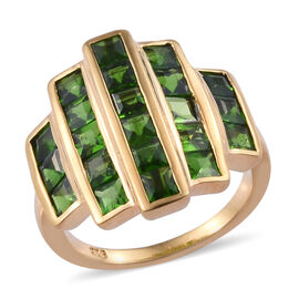 3.75 Ct Russian Diopside Cluster Ring in 14K Gold Plated Sterling Silver 5.14 Grams