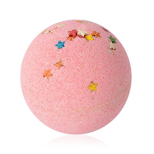 One Time Deal- Rose Scent 3 Pink Bath Bombs with Star and 1 Hand made Soap with Gift Box (Size 16.1x12.8x7.7 Cm)