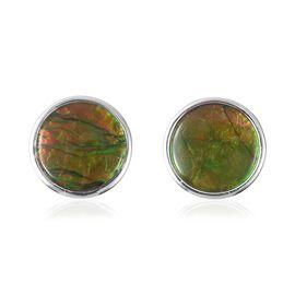 AA Canadian Ammolite (Rnd 10mm) Earrings (Push Back) in Sterling Silver.