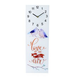 Wall Decor - Love Birds Pattern Rectangle Glass Wall Clock (Size 60x20x4 Cm)