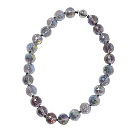 Mystic Topaz Colour Crystal (Rnd 17-19mm) Faceted Beads Necklace (Size 19.5) with Magnetic Lock
