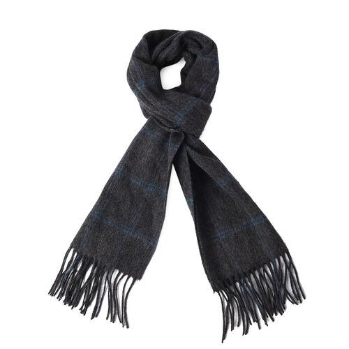 Super Soft Plaid Pattern 97% Wool Scarf (Size 30x167+8cm) - Black and Green
