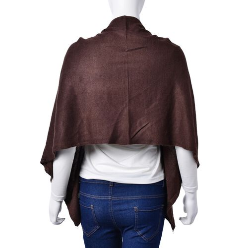 Italian Designer Inspired - Pearl Detailed Chocolate Colour Buttoned Scarf/Cardigan (Size 160x43 Cm)