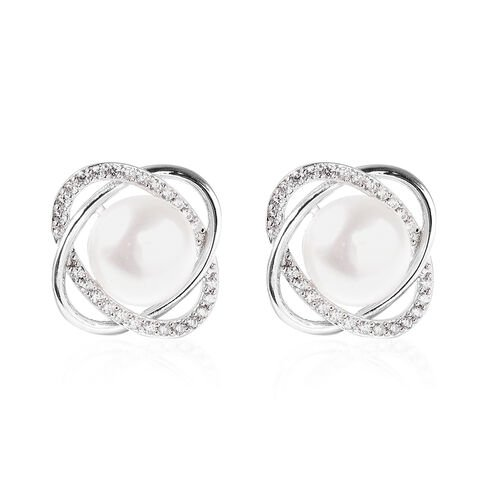 Freshwater White Pearl and Simulated Diamond Stud Earrings (with Push Back) in Rhodium Overlay Sterl