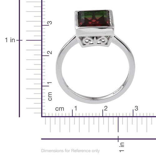 Tourmaline Colour Quartz (Bgt) Solitaire Ring in Platinum Overlay Sterling Silver 3.500 Ct.