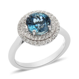 RHAPSODY 950 Platinum Santa Maria Aquamarine and Diamond Ring 2.25 Ct, Platinum Wt. 6.37 Gms