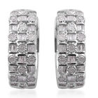 1.01 Ct Diamond Hoop Earrings in Platinum Plated Silver 7.40 Grams