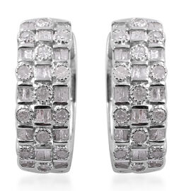 1.01 Ct Diamond Hoop Earrings in Platinum Plated Silver 7.40 Grams with Clasp