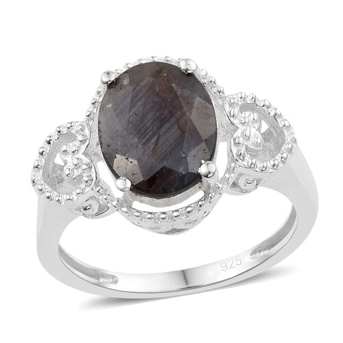 Silver Sapphire (Ovl 10x8 mm) Ring in Sterling Silver 3.250 Ct.