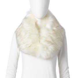 Off White Colour Faux Fur Scarf (Size 90x14 Cm)