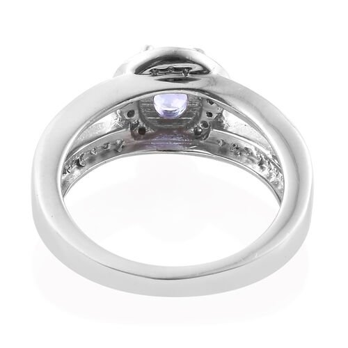 Tanzanite (Ovl), Natural Cambodian Zircon Ring in Platinum Overlay Sterling Silver 1.000 Ct.