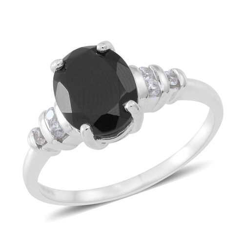 Boi Ploi Black Spinel (Ovl 3.25 Ct), White Zircon Ring in Sterling Silver 3.500 Ct.