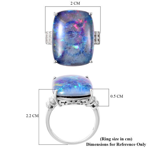 Collectors Edition Australian Boulder Opal (20x15mm), Natural Cambodian Zircon Ring in Rhodium Overlay Sterling Silver