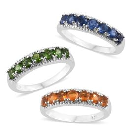 Set of 3 - Himalayan Kyanite (Rnd), Russian Diopside and Jalisco Fire Opal Ring in Platinum Overlay Sterling Silver 2.500 Ct. Silver wt 7.75 Gms.