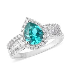 Signature Collection- ELANZA AAAA Simulated Colombian Emerald (Pear), Simulated Diamond Ring in Rhod