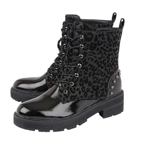Lotus ELENA Animal Print Ankle Boots (Size 3) - Black