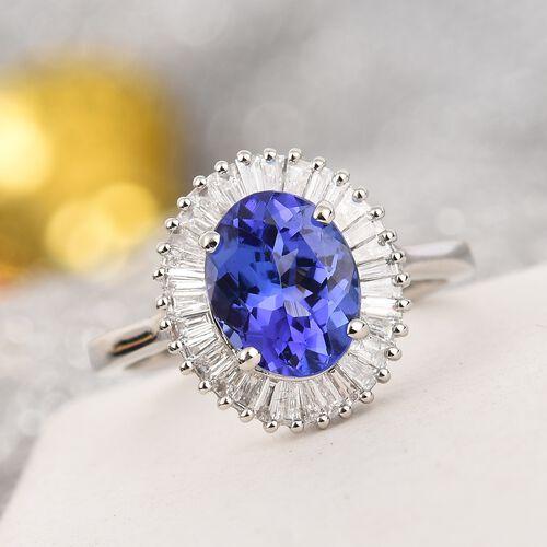 OTO - RHAPSODY 950 Platinum AAAA Tanzanite and Diamond (VS/E-F) Halo Ring 2.50 Ct