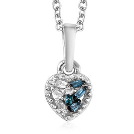 Blue and White Diamond (Bgt) Heart Pendant with Chain (Size 20) in Platinum Overlay Sterling Silver
