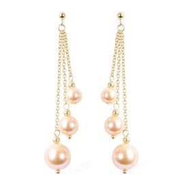 Golden Color Shell Pearl (Rnd) Three Strand Drop Earrings (with Push Back) in Yellow Gold Overlay St