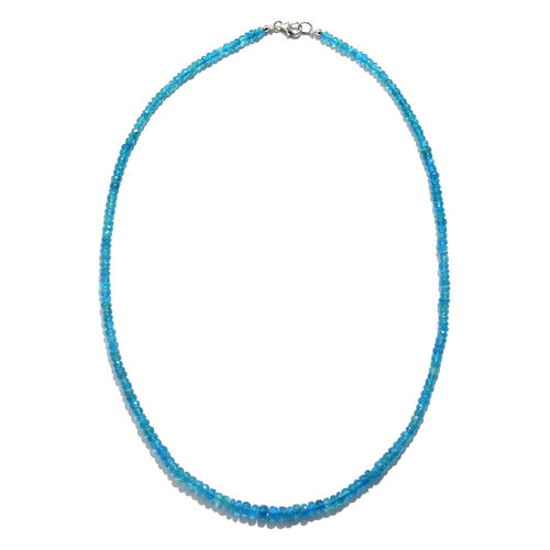 Extremely Rare Malgache Neon Apatite (Rnd) Beads Necklace (Size 18) in Rhodium Overlay Sterling Silv