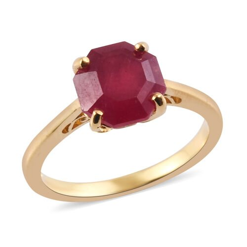 3 Carat AA African Ruby Solitaire Ring in Gold Plated Sterling Silver