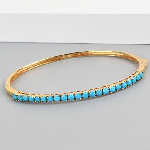 Arizona Sleeping Beauty Turquoise Full Bangle (size 7.75) in 14K Gold Overlay Sterling Silver 3.50 Ct.