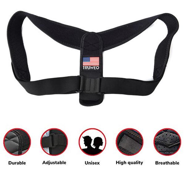 Posture Corrector with Adjustable Strap (Size 51x23 Cm) - Black