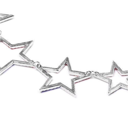 Multi Colour Austrian Crystal Star Necklace (Size 20) in Silver Tone