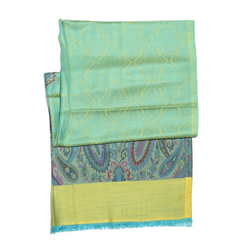 Green, Yellow and Multi Colour Paisley Pattern Jacquard Scarf with Fringes (Size 180X70 Cm)